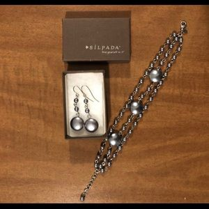 Silpada Silver Pearl Beaded Earrings & Bracelet